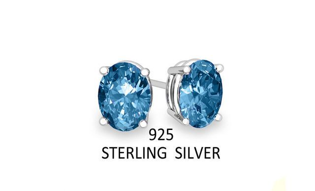 2.00 CTW .925 Sterling Silver Genuine Oval London Blue Topaz Stud Earrings #ChamonixJewelry #Stud