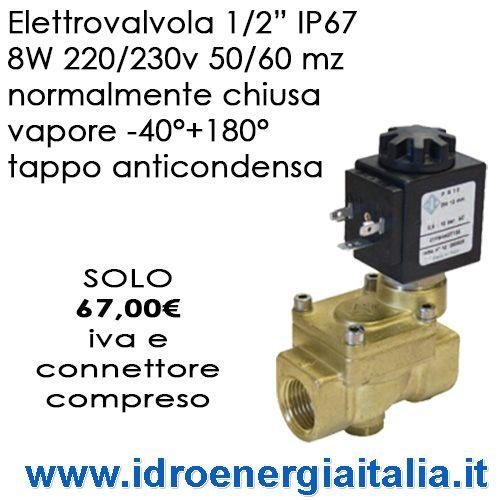 "Elettrovalvola ODE 21YW4K0T130 1/2"" IP67 230/240v 50/60 MHz servocomandata pistoni vapore -40+180 gradi €67,00 idroenergiaitalia roma lecce"