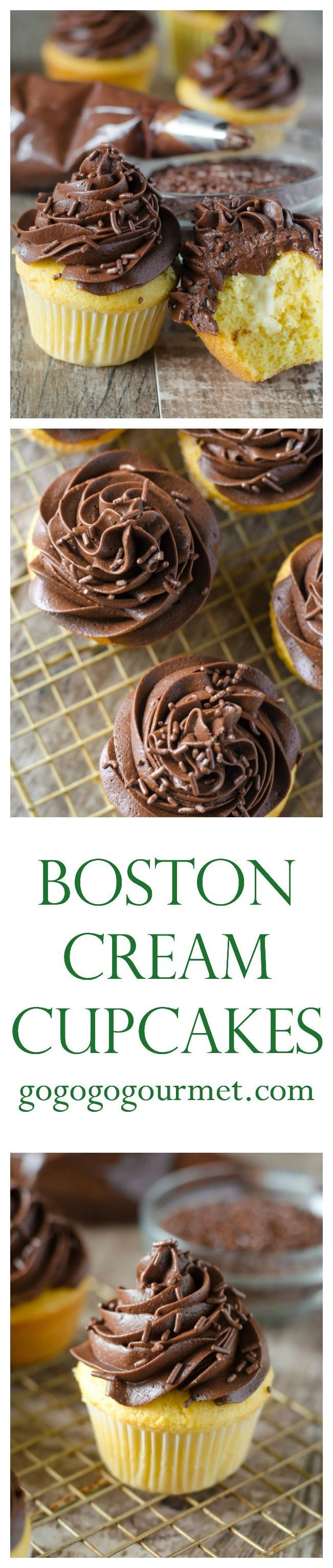 These cupcakes are UNBELIEVABLE! Boxed cake mix is dressed up with a creamy custard filling and the BEST chocolate frosting known to man! Boston Cream Cupcakes | Go Go Go Gourmet /gogogogourmet/