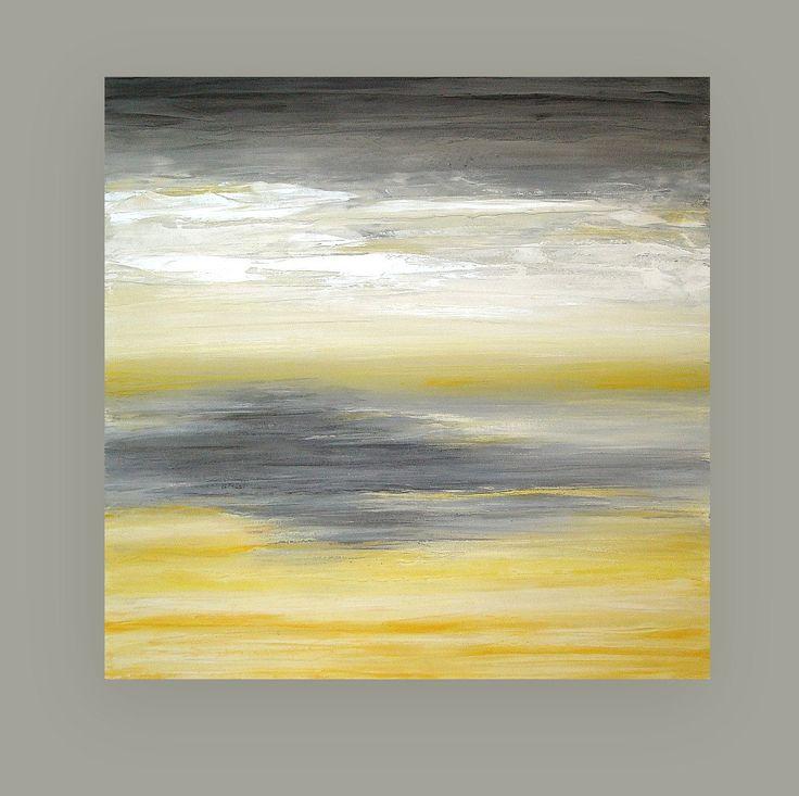 Art peinture abstraite Acrylique jaune et gris par OraBirenbaumArt