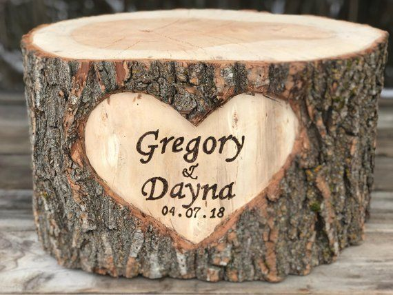 Hand carved heart Rustic log wedding cake stand personalised or un-personalised