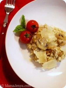 Ризотто с грибами и пармезаном  Рецепт здесь: http://mamajenya.com/rizotto-s-gribami-i-parmezanom/  Pilzrisotto mit Parmesan