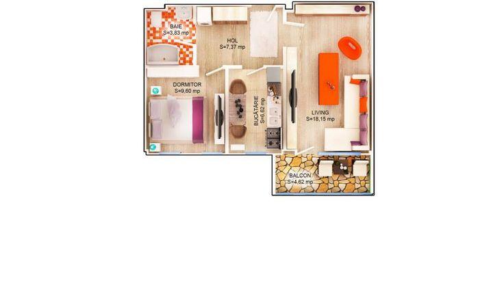 APARTAMENT LILY - 2 CAMERE Suprafaţă construită: 56 mp Suprafaţă utilă: 45.57 mp Apartament disponibil doar la etajele 1 – 3 PRET: 41.900e + TVA 5%