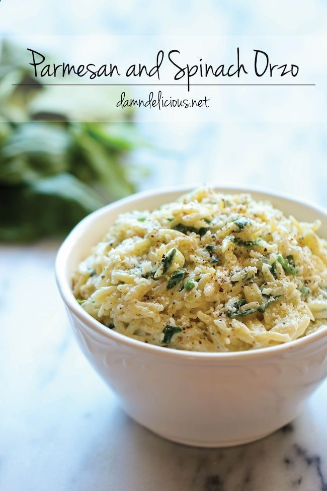 Parmesan and Spinach Orzo - This creamy orzo dish is a wonderful side or light main dish, and its sure to be a hit with the entire family! .
