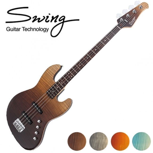 Swing Climax Gradient 4String Jazz Bass Gradation 4Colors Flame Maple Top Unique #Swing #JazzBass