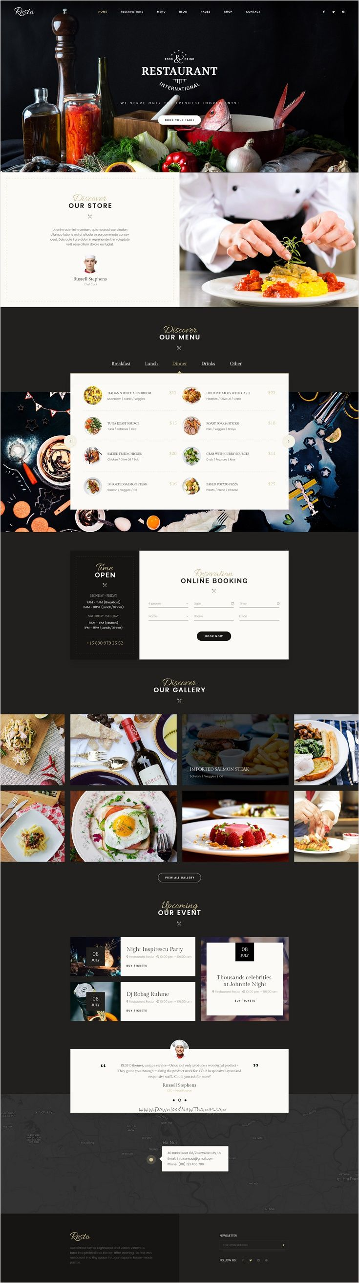 Resto is an attractive premium #PSD #theme for awesome #restaurants, cafe or food business website with 6 multipurpose homepage layouts and 22 organized PSD pages download now➩ https://themeforest.net/item/resto-multipurpose-restaurant-cafe-psd-template/17518251?ref=Datasata