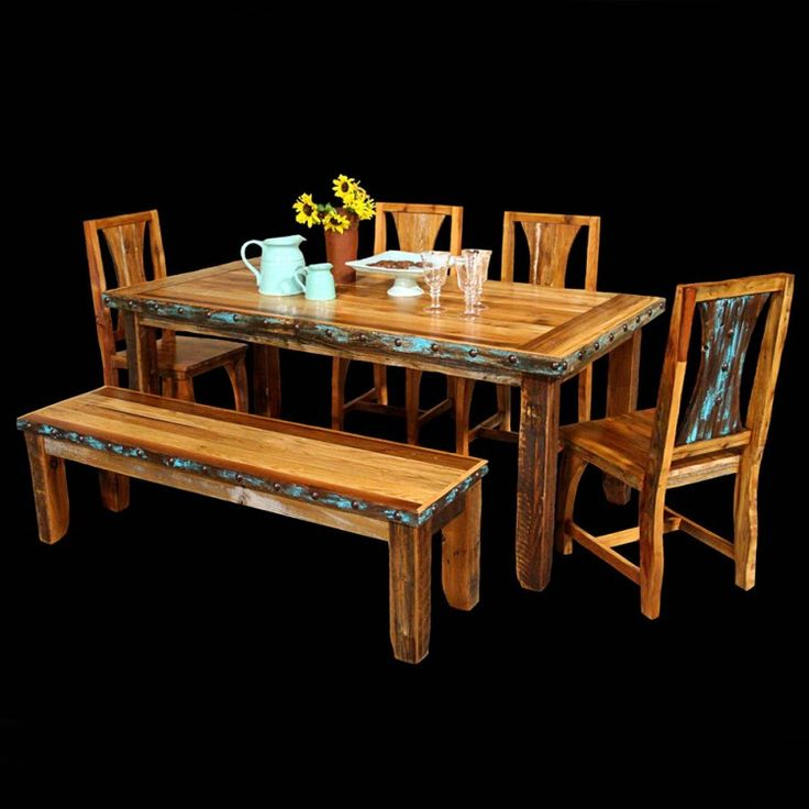 Azul barnwood table chairs with bench package turquoise dining rooms and chairs - Barnwood dining room table ...