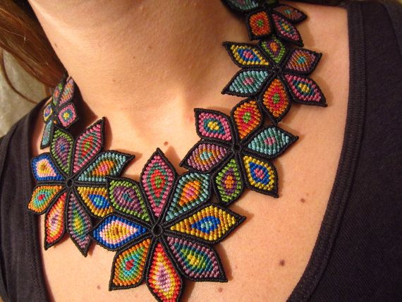 Multicolored Flower Macrame Necklace Creation by PapachoCreations, $125.00