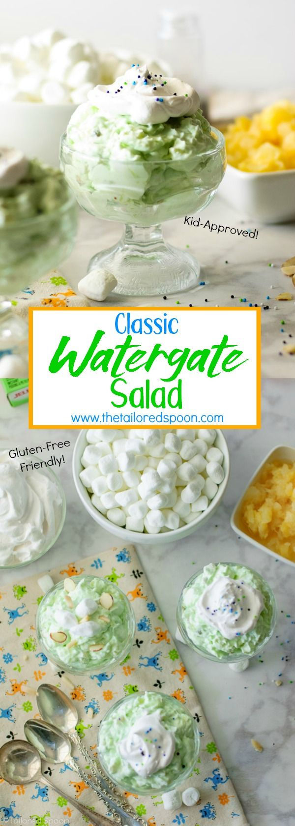 This Classic Watergate Salad recipe is a creamy, sweet, fluffy, crunchy dessert made with only 5 ingredients and all-in-one palate explosion that disguises itself as a salad. #dessert #classic #greengoo #5ingredientsorless #recipe #simple