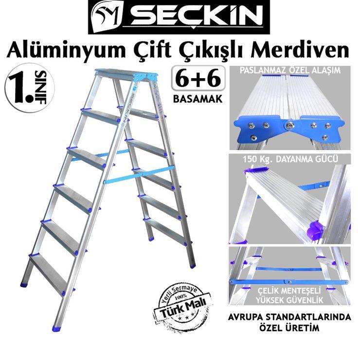 Seçkin Alüminyum Çift Taraflı Merdiven 2 Çıkışlı Merdivenler-6+6 Basamaklı