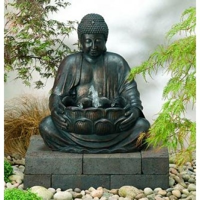 Buddha Fountain Solar Water Feature With LED Lights. This Oriental Style  Fountain Features The Spiritual
