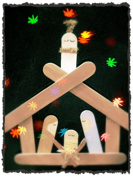 Popscicle stick nativity. My kids would love this