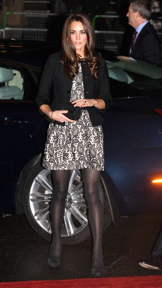 Kate Middleton kept her lace Zara dress under wraps with a black cropped jacket. Brand: Ralph Lauren