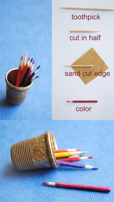 pamplemoussi:    Oh my gosh, I used to make hundreds of these little pencils for my dollhouse!  (via the Hairpin)    This is how I made the colored pencils in the artist studio.