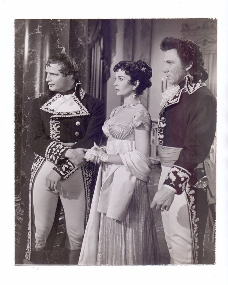 Marlon Brando as Napoleon Bonaparte, Jean Simmons as Desiree Clary, Cameron Mitchell as Joseph Bonaparte in Desiree.