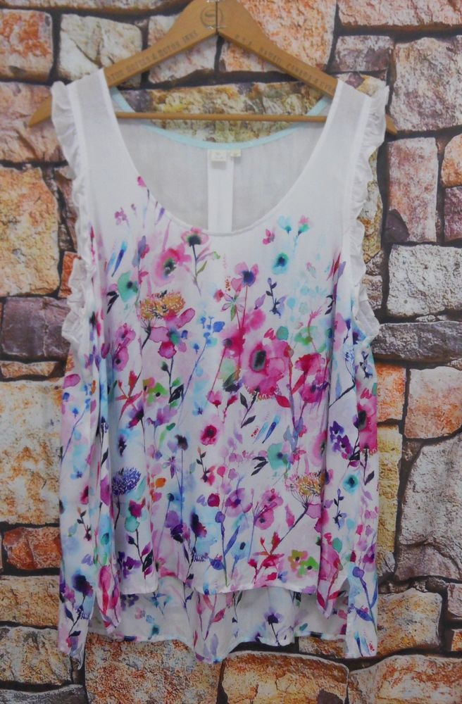 Anthropologie Eloise Large Watercolor Floral Sleeveless Blouse Rayon Ruffle   59da4f62e