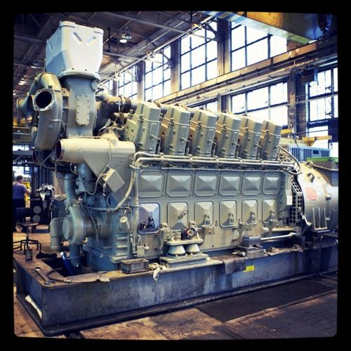 A Diesel Electric Locomotive Engine With A Turbocharger At