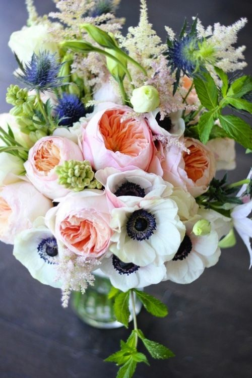 anemones, peonies, hyacinth, astilbe, thistles, lisianthus and herbs