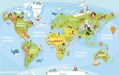 Mapamundi de océanos y continentes para imprimir
