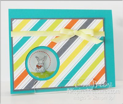 """Second card for the Stampin' Up! Alaska Achievers Blog Hop featuring the Occasions and Sale-A-Bration 2018 Catalogs.  This one has a peekaboo bunny from """"A Good Day"""" stamp set...I featured for Easter!  See details:  http://inkspiredtreasures.com/cards/february-alaska-achievers-blog-hop/  #stampinup, #inkspiredtreasures, #bloghop, #sualaskaachievers"""