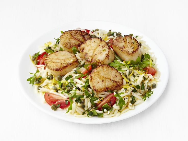 Lemon Orzo with Scallops recipe from Food Network Kitchen via Food Network
