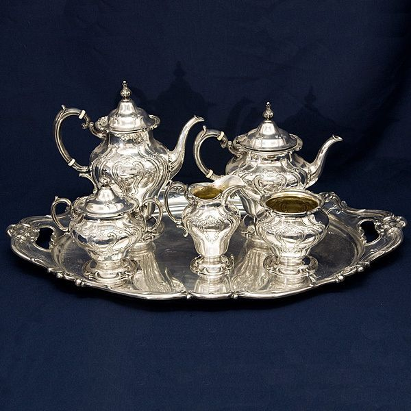 Sterling silver tea set Chantilly by Gorham. Love my tea set, this is an investment we made this year, we use it on weekends for afternoon tea parties, someday my great grandchildren will use it, a righteous person leaves an inheritance to their children.