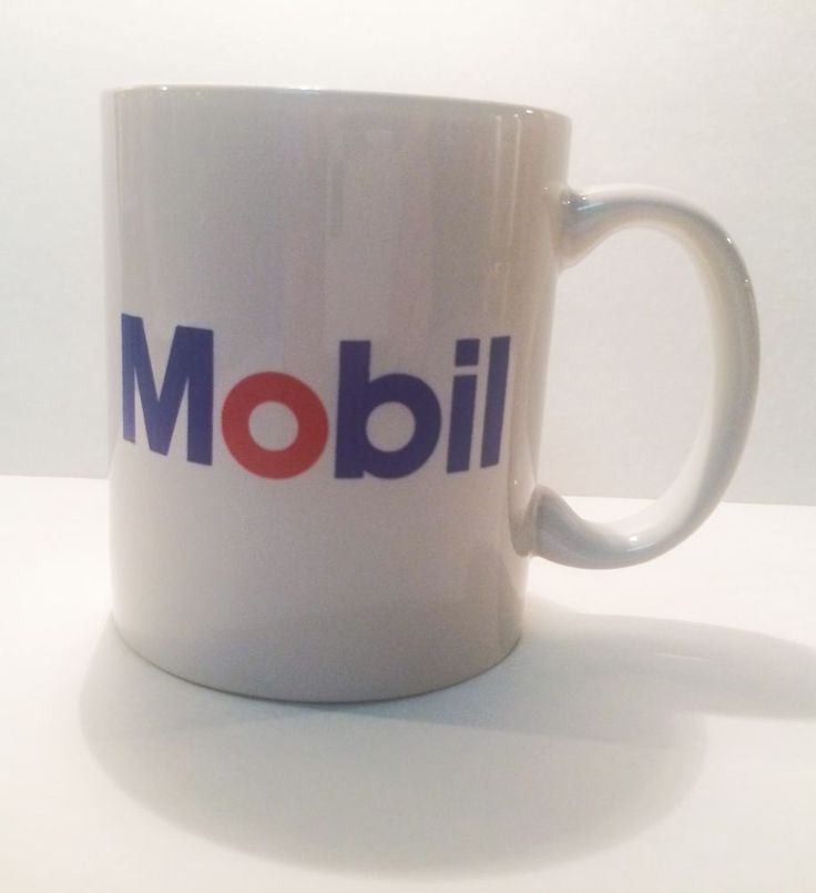 Mobil Gas Oil Company Station White Red Blue Logo Coffee