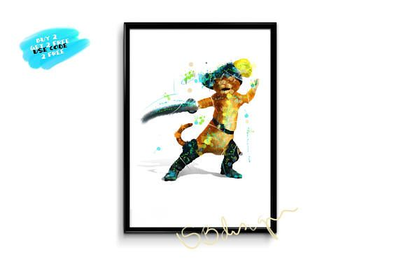 Shrek Cat Poster Puss In Boots Watercolor Poster Nursery