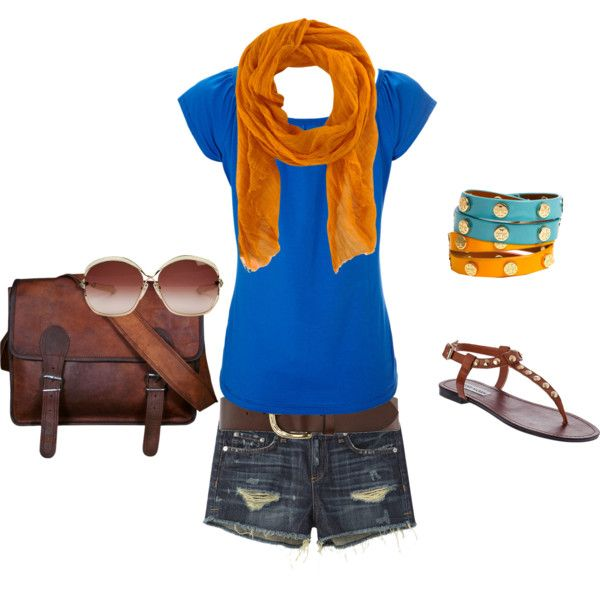 Happy, created by carissaand-garret-elliott on PolyvoreOrange Combinations, Daily Outfit, Outfit Ideas, Style, Blue, Ideal Outfit