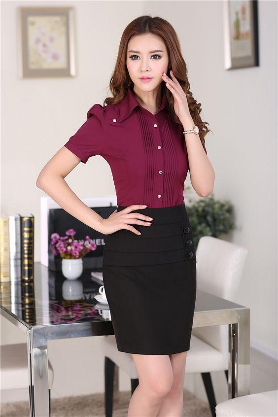 Resultado de imagem para conjuntos de falda y blusa