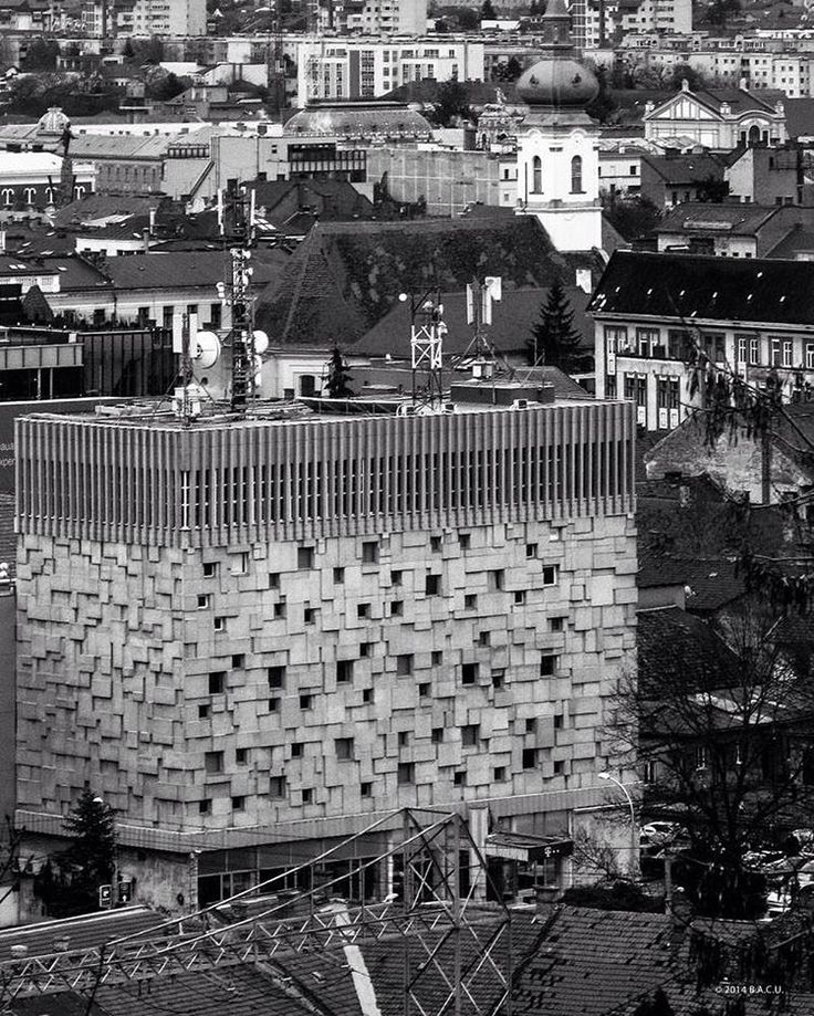 Public utilities building for telephone and postal services, (now owned by private telephone company) Cluj-Napoca, Romania, built between 1966-69, Architect Vasile Mitrea © BACU #socialistmodernism