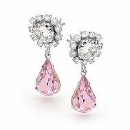Peony Pink Crystal Earrings - Fletcher & Grace bridal jewellery, pink crystal earrings, peony pink crystal
