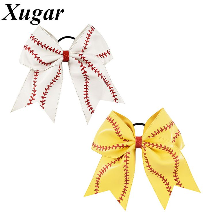 >> Click to Buy << 7'' Leather Baseball Cheer Bow With Elastic Band Softball Hair Bow For Cheerleaders Girl Hair Accessories #Affiliate