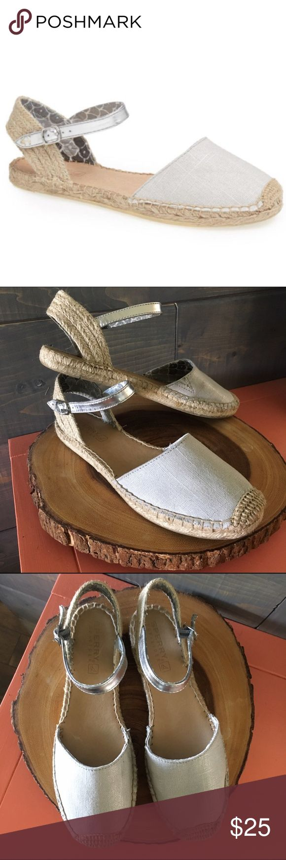 Sorry silver espadrilles shoes Size 8.5 silver Sperry espadrilles sandals. Never worn! See details in last picture. Sperry Top-Sider Shoes Espadrilles