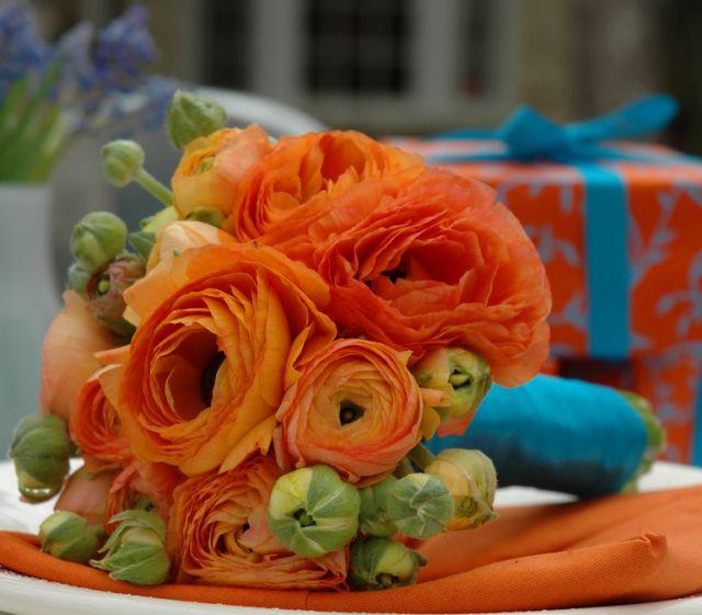 Bright orange wedding bouquet with blue ribbons  Orange Ranunculus62 best Wedding Theme  Teal   Orange images on Pinterest  . Orange And Lime Green Wedding Theme. Home Design Ideas