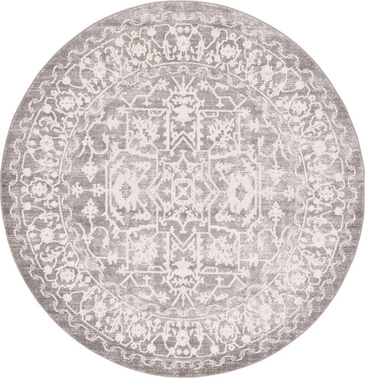 Light Gray 6' x 6' New Vintage Round Rug | Area Rugs | eSaleRugs | $199