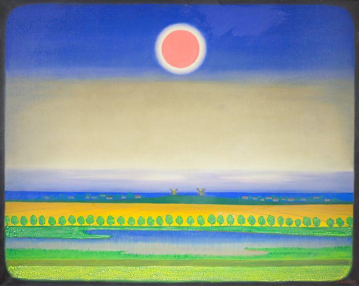 Obraz namalowany został w 1978 roku przez Stefana Słockiego, podczas jednego z letnich plenerów artystycznych, organizowanych w Lednogórze. Horyzontalna kompozycja – z kręgiem słonecznym, pasmami pól, nieba i wód oraz rytmicznym układem drzew – kojarzy się bardziej z malarstwem abstrakcyjnym niż studium natury. Łatwo jednak dostrzec charakterystyczne dla okolic Jeziora Lednickiego wiatraki.