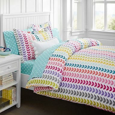 Vine flannel duvet cover sham pottery barn teen the girls would love something this bright - A nice bed and cover for teenage girls or room ...