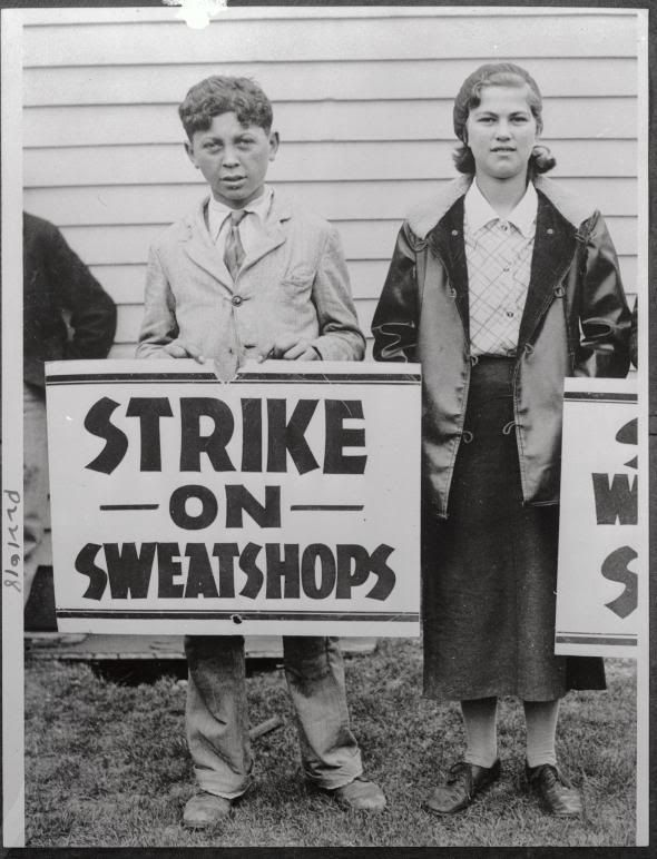 """On April 19, 1933, 400 """"Baby Strikers"""" (as they were dubbed), ranging from 14 to 16 years of age, went to see Governor Gifford Pinchot in Harrisburg to explain the plight of their lives in sweatshops. The girl on the right of the picture above is Anna Miletics, age 15. She packed shirts in boxes for 9 cents an hour. Her earnings for eight days were $3.50, less a 10 percent cut and two cents deducted from her earnings to pay the """"check tax."""""""