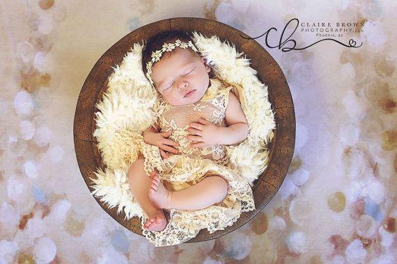 Bebé foto prop conjunto pantalón blusa y bebé, diper cubierta, mameluco de encaje, niña, fotografía de bebés, fotos Prop  Color: durazno  Tamaño del recién nacido