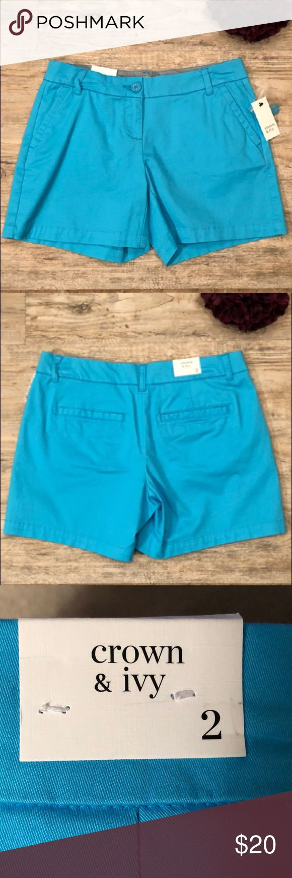 """⚓️Adorable Aqua Shorts Endless versatility and the classic comfort of cotton, these solid aqua shorts coordinate well with just about any top in your closet. BNWT!  Features: 5"""" inseam Button closure, with belt loops Slant pockets, welt pockets Classic fit  Twill fabric Crown & Ivy Shorts"""