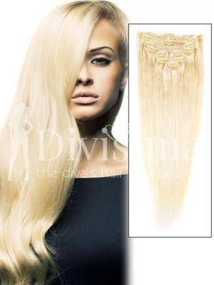 Blond Cenusiu Clip-On Par Natural