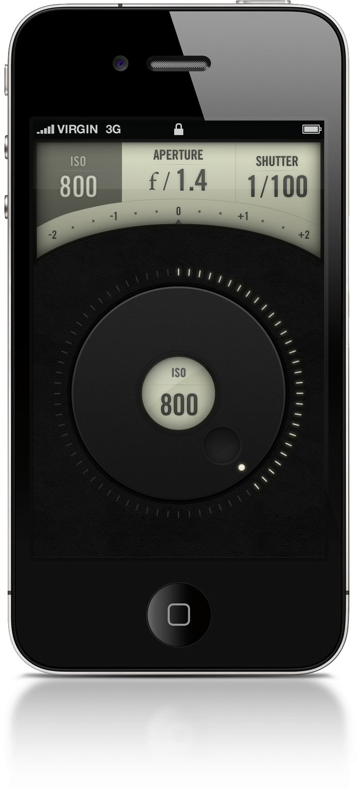 Canon iPhone app | Designer: Jeremey Fleischer. Retro beautifully reworked for new technology. I'd love to see more dials and knobs on touchscreens.