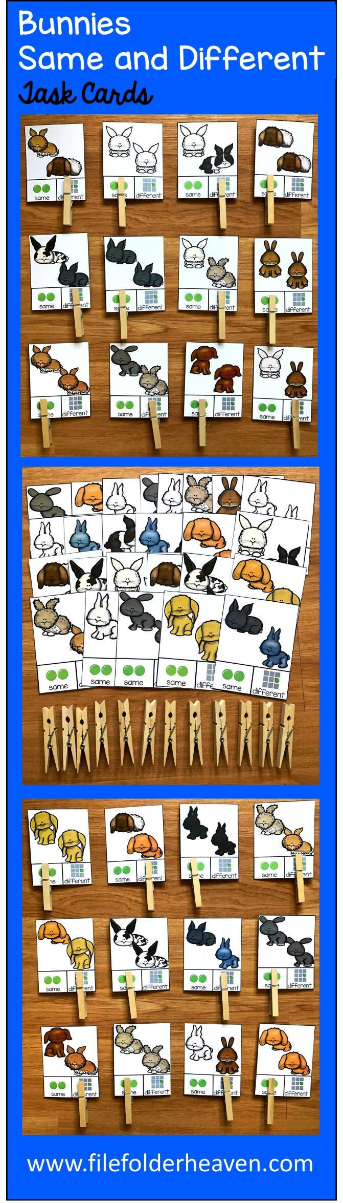 These Same and Different Bunnies Task Cards  focus visual discrimination skills using bunny themed pictures and includes many different breeds of rabbits and bunnies. There are 40 task cards included. With each card, students will look at the picture and determine if the bunnies are the same or different.  Use these task cards in independent workstations, learning centers or a small group setting.