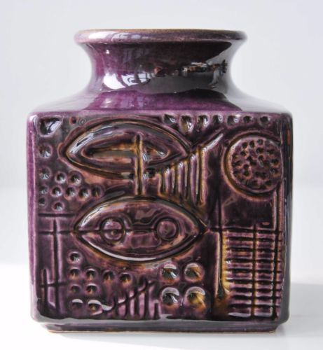 Vintage-1968-GERDA-HEUCKEROTH-CARSTENS-purple-Prehistoric-Vase-German-Fat-Lava