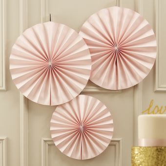 <p>These stunning pastel pink hanging fan decorations are perfect to decorate wedding venues or birthday parties. </p><p>Use these fun hanging fan decorations to add a splash of colour to the party! </p><p>Each pack contains 3 decorations, 2 large 36cm in diameter and 1 small 28cm in diameter. </p><p>Looks amazing together with our gold sparkle fan decorations.</p>