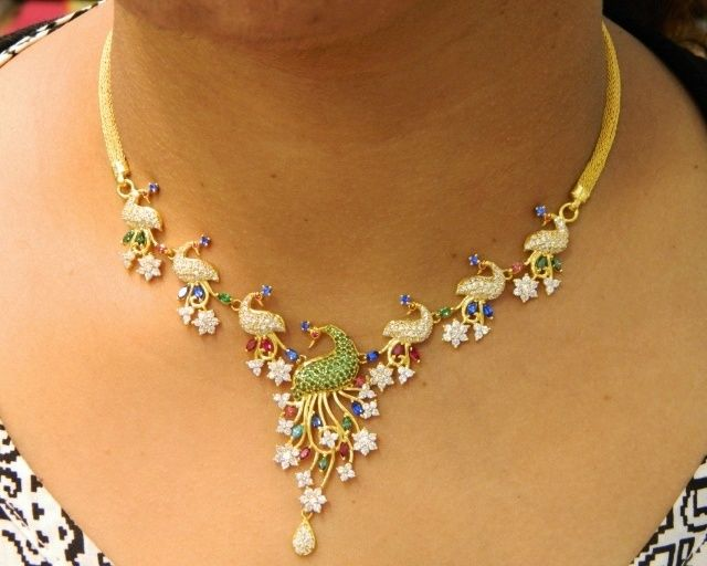 Necklaces / Harams - Gold Jewellery Necklaces / Harams (NK43834118) at USD 2,197.76 And EURO 1,974.21