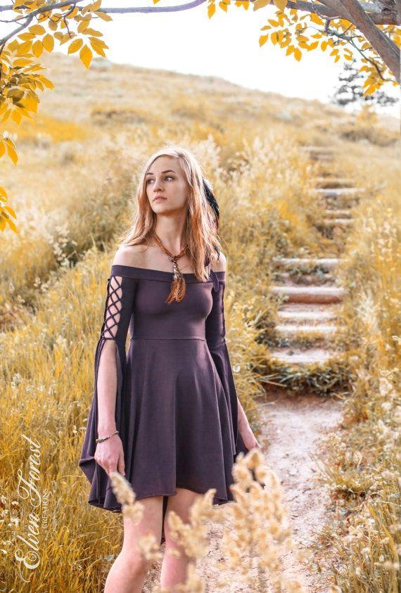 Damsel Dress Elven Forest Festival Dress Boho Bohemian