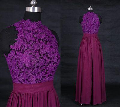 Dark Purple Prom Dress,Chiffon Prom Dress,Lace Prom Dresses,Prom Dresses 2016,High Neck Prom Dress,PD160373