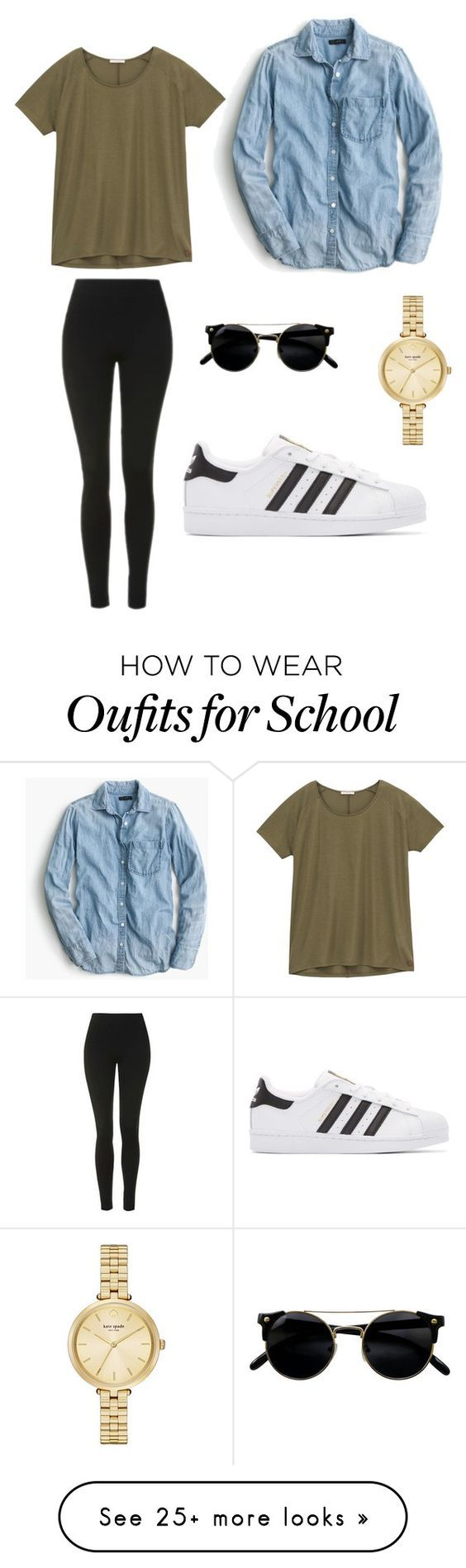 School Outfit by piperlauren2001 on Polyvore featuring J.Crew, Topshop, Lee, adidas Originals, Kate Spade, school and polyvoreeditorial